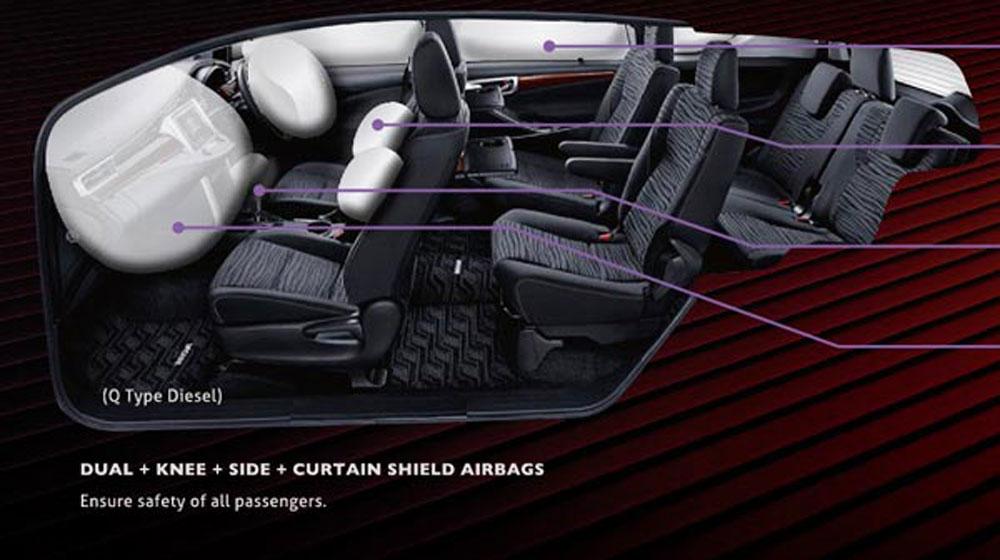 Innova 2016 bản đầu bảng có 7 túi khí, hàng ghế thứ 2 riêng biệt